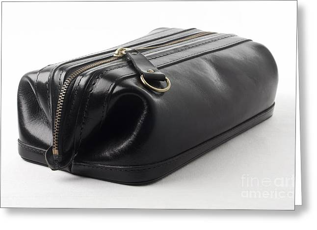Leather Greeting Cards - Black leather bag Greeting Card by Blink Images