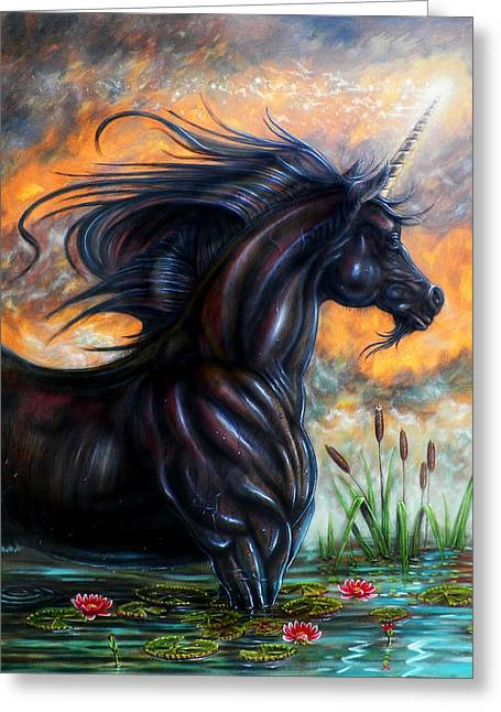 Black Unicorn Greeting Cards - Black Majik Greeting Card by Billy Leslie