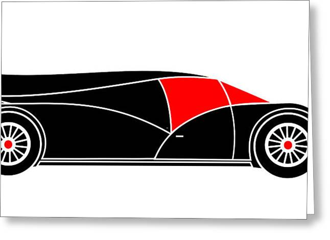 Black Rocket Racing Car Virtual Car Greeting Card by Asbjorn Lonvig