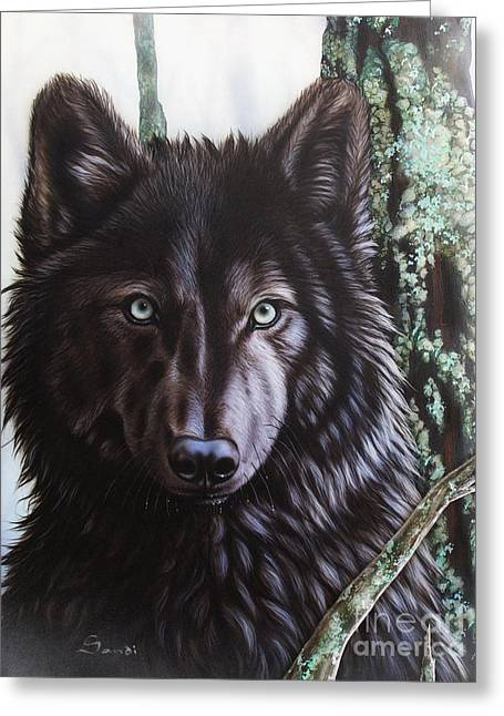 Wolf Song Studio Greeting Cards - Black Wolf Greeting Card by Sandi Baker