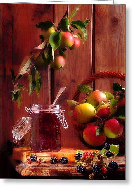 Black Berries Greeting Cards - Blackberry And Apple Jam Greeting Card by Amanda And Christopher Elwell