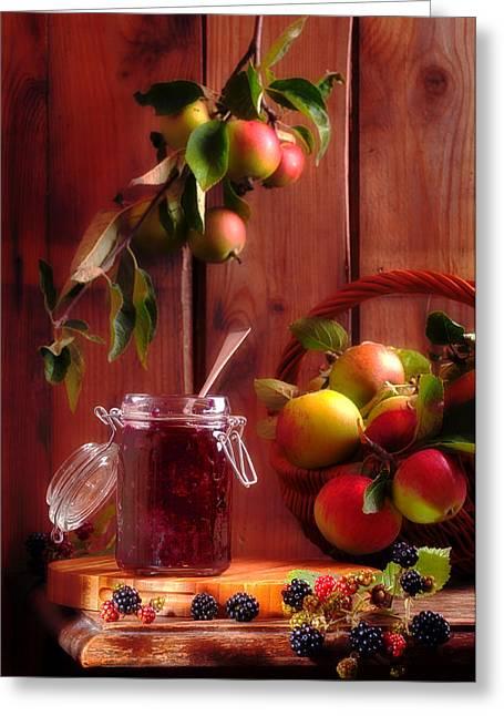 Blackberry And Apple Jam Greeting Card by Amanda Elwell