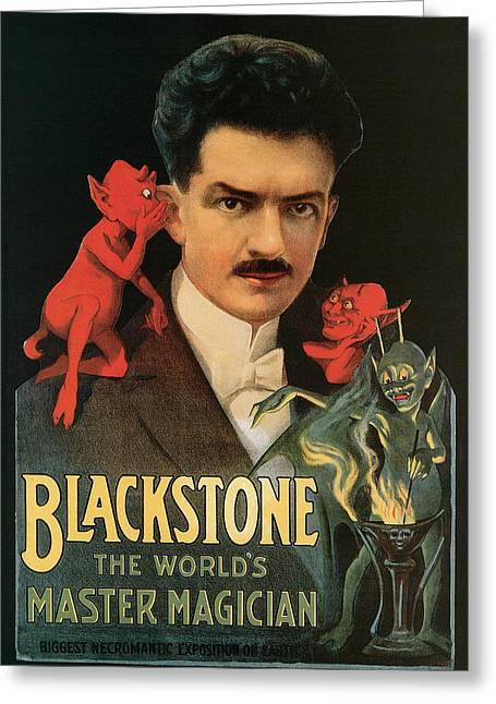 Blackstone The World's Master Magician Greeting Card by Unknown