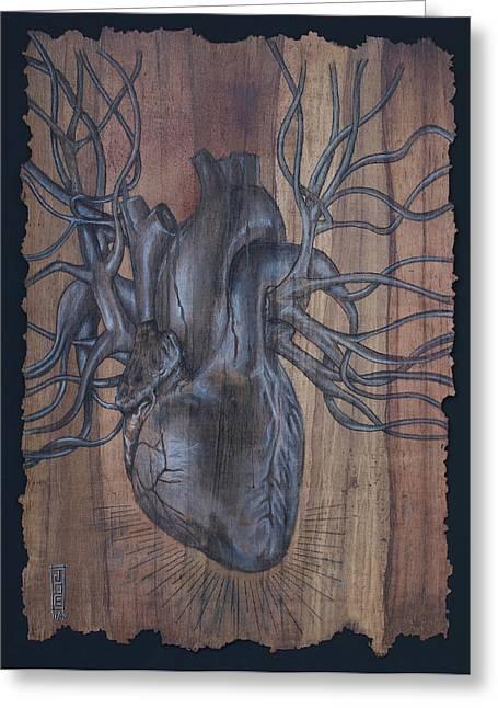 Anatomical Mixed Media Greeting Cards - Bleeding Heart Greeting Card by Joe Dragt