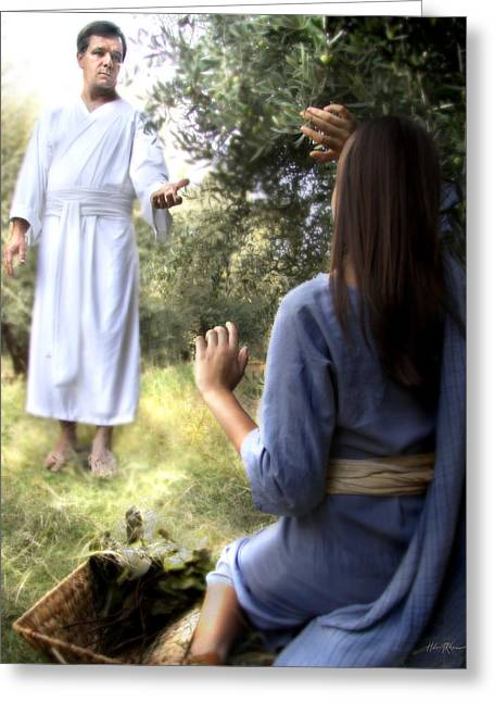 Chosen One Greeting Cards - Blessed Art Thou Among Women Greeting Card by Helen Thomas Robson