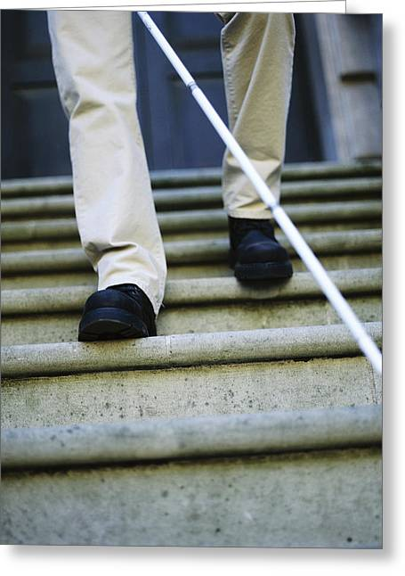 Disability Greeting Cards - Blind Man Descending Stairs Greeting Card by Cristina Pedrazzini