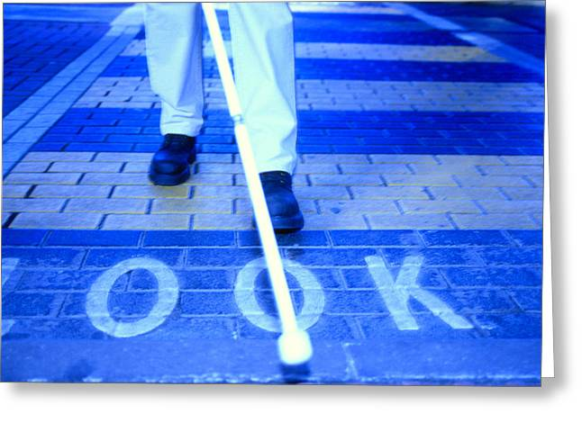 Disability Greeting Cards - Blind Man On A Crossing Greeting Card by Cristina Pedrazzini