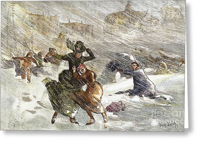 Union Square Greeting Cards - Blizzard Of 1888, Nyc Greeting Card by Granger