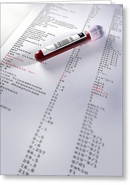 Component Photographs Greeting Cards - Blood Sample With Results Greeting Card by Tek Image