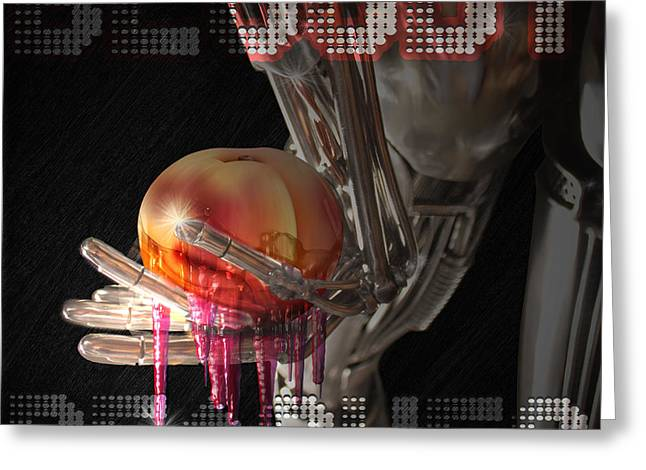 Peaches Glass Art Greeting Cards - Bloody Peaches Greeting Card by Lance  Kelly