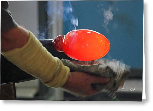 Glass Blowing Greeting Cards - Blowing Glass II Greeting Card by Suzanne Gaff