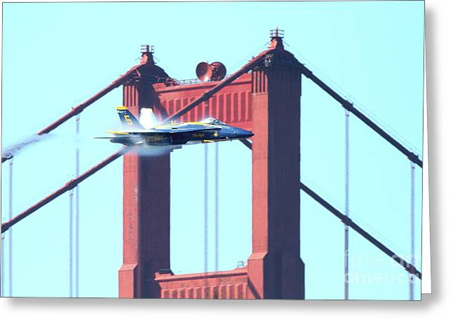 Brdige Greeting Cards - Blue Angels Crossing the Golden Gate Bridge 5 Greeting Card by Wingsdomain Art and Photography