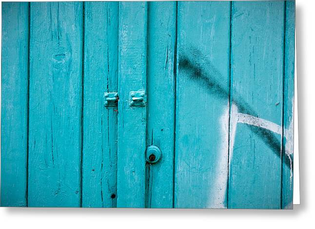 Background Greeting Cards - Blue door Greeting Card by Tom Gowanlock