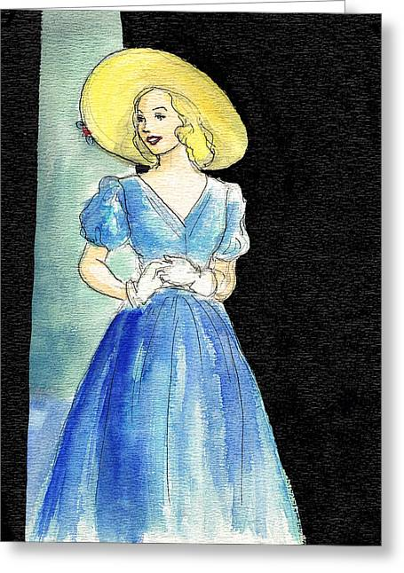 Full Skirt Greeting Cards - Blue Gown Greeting Card by Mel Thompson