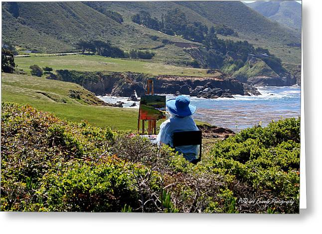 Pfeiffer Beach Greeting Cards - Blue Hat Painter Greeting Card by PJQandFriends Photography