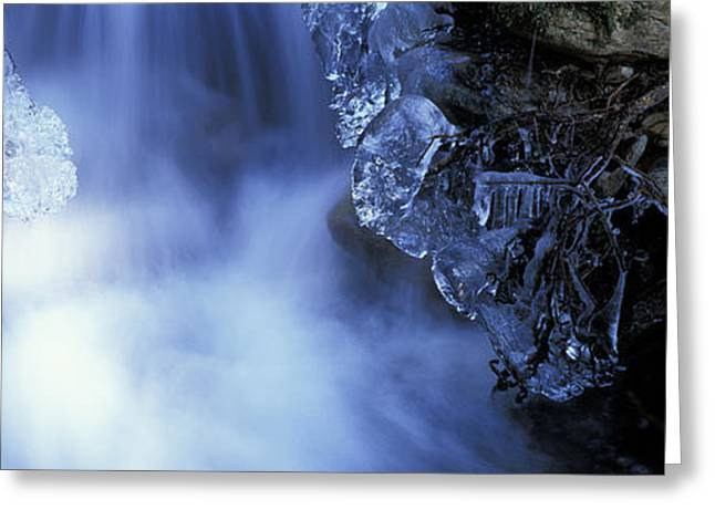Blue Icy Waterfall Greeting Card by Ulrich Kunst And Bettina Scheidulin