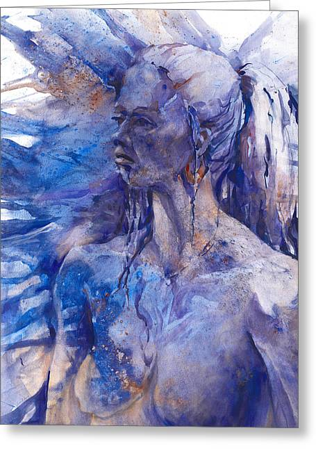 Gold Earring Greeting Cards - Blue Lady Greeting Card by Joan  Jones