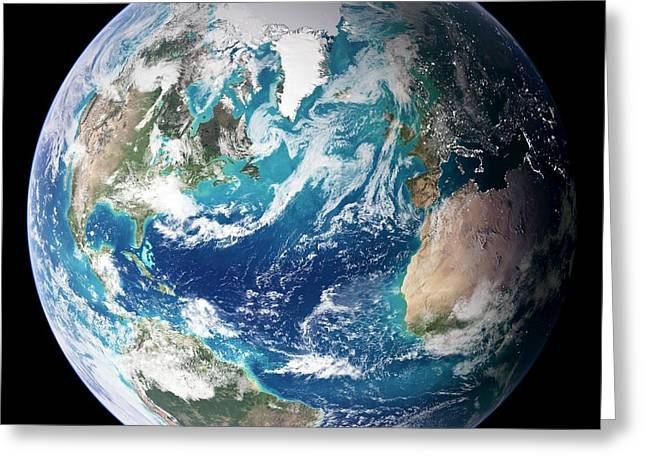 Phytoplankton Photographs Greeting Cards - Blue Marble Image Of Earth (2005) Greeting Card by Nasa Earth Observatory