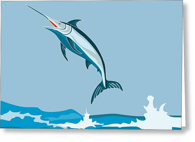 Fish Greeting Cards - Blue Marlin Fish Jumping Retro Greeting Card by Aloysius Patrimonio
