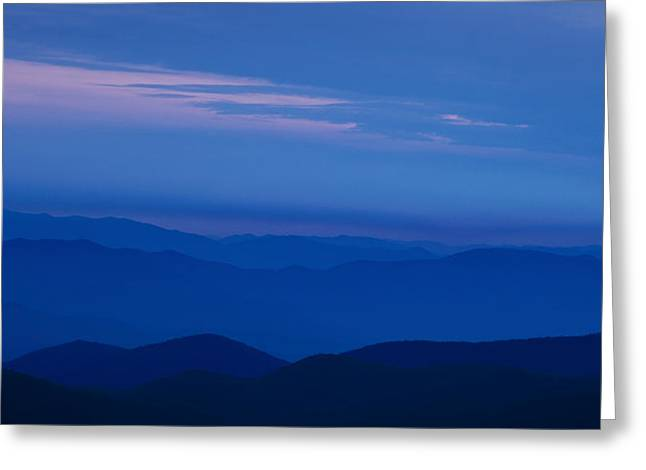 Blues Greeting Cards - Blue Ridge Panorama Greeting Card by Andrew Soundarajan