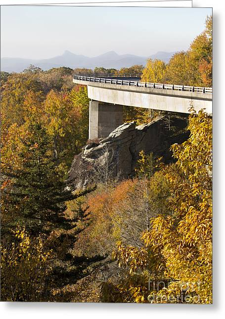 Blue Ridge Parkway Greeting Cards - Blue Ridge Parkway Linn Cove Viaduct Fall Colors Greeting Card by Dustin K Ryan