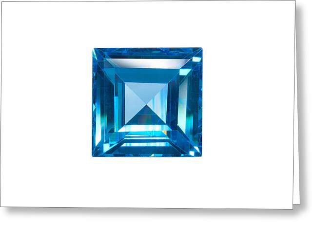 Blue Sapphire Isolated Greeting Card by Atiketta Sangasaeng