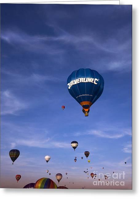 Balloon Fiesta Greeting Cards - Blue Skies Greeting Card by Angel  Tarantella