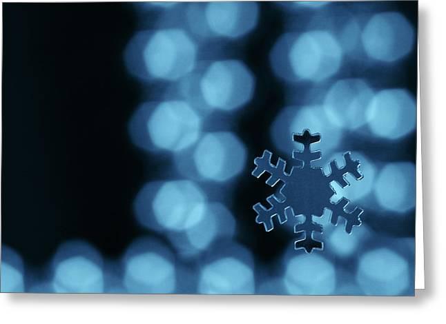 Christmas Greeting Cards - Blue snowflake Greeting Card by Jouko Mikkola
