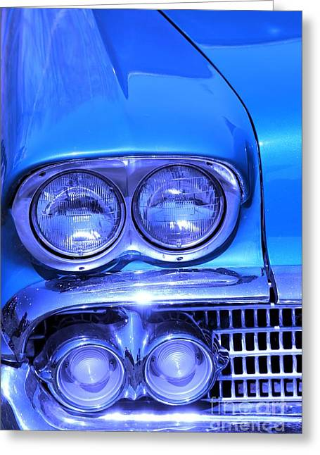 Blue Car. Greeting Cards - Blue  Greeting Card by Sophie Vigneault