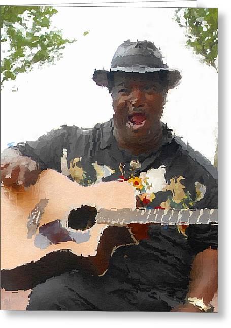 African-american Digital Greeting Cards - Blues Man Greeting Card by David Lee Thompson