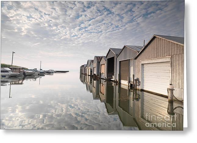 Lake House Greeting Cards - Boat Houses at Lake Erie Greeting Card by Oleksiy Maksymenko
