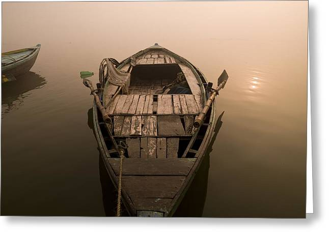 Holy Vessels Greeting Cards - Boat In The Water, Varanasi, India Greeting Card by Keith Levit