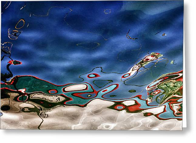 boat reflexion Greeting Card by Stylianos Kleanthous
