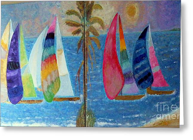 Skies Reliefs Greeting Cards - Boats at sunset Greeting Card by Vicky Tarcau