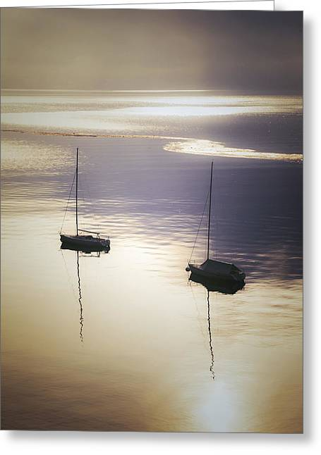 Reflexions Greeting Cards - Boats In Mist Greeting Card by Joana Kruse