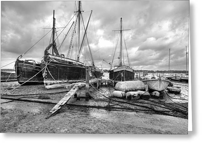 Working Boats Greeting Cards - Boats on the hard Pin Mill Greeting Card by Gary Eason
