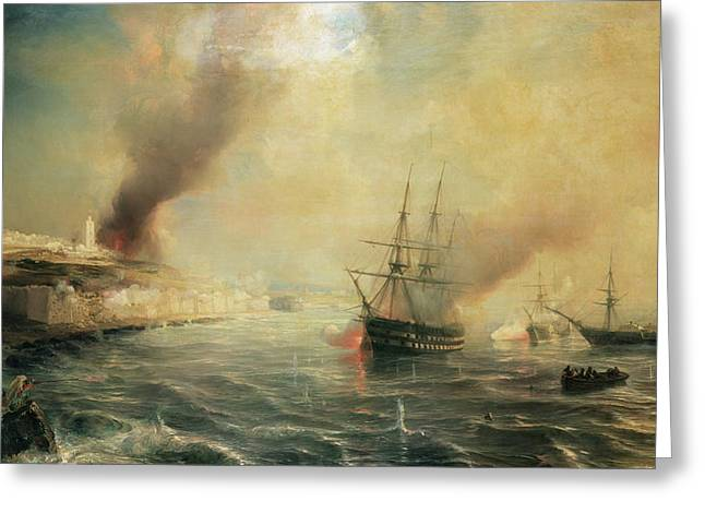 Yachting Greeting Cards - Bombardment of Sale Greeting Card by Jean Antoine Theodore Gudin
