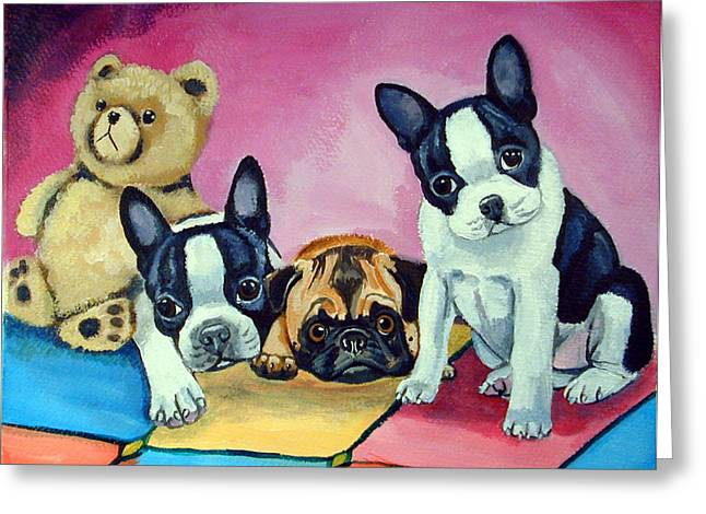 Boston Paintings Greeting Cards - Boston Terrier and Pug puppies PJ Party Greeting Card by Lyn Cook