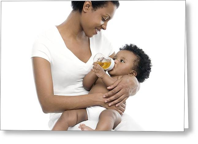 35-39 Years Greeting Cards - Bottle-feeding Greeting Card by