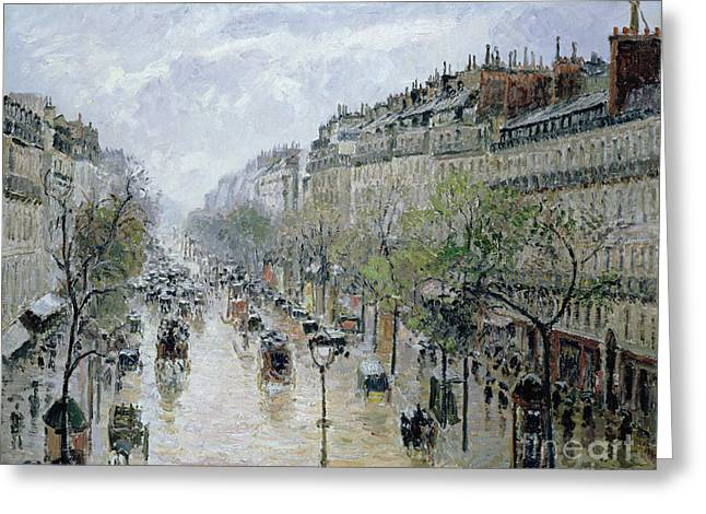 Pissarro; Camille (1830-1903) Greeting Cards - Boulevard Montmartre Greeting Card by Camille Pissarro