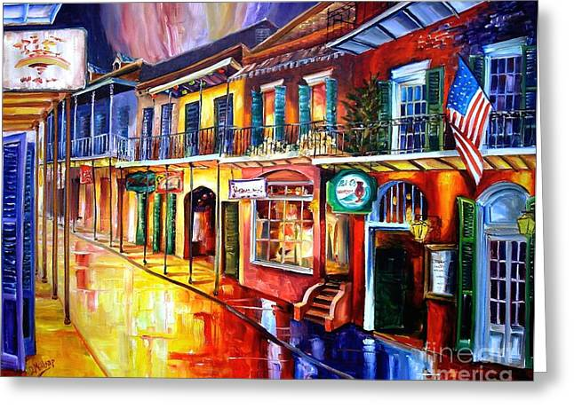 Bars Greeting Cards - Bourbon Street Red Greeting Card by Diane Millsap