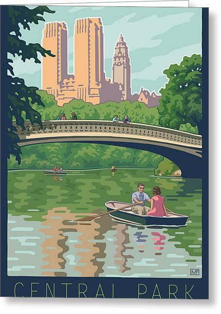 Bow Greeting Cards - Bow Bridge in Central Park Greeting Card by Mitch Frey