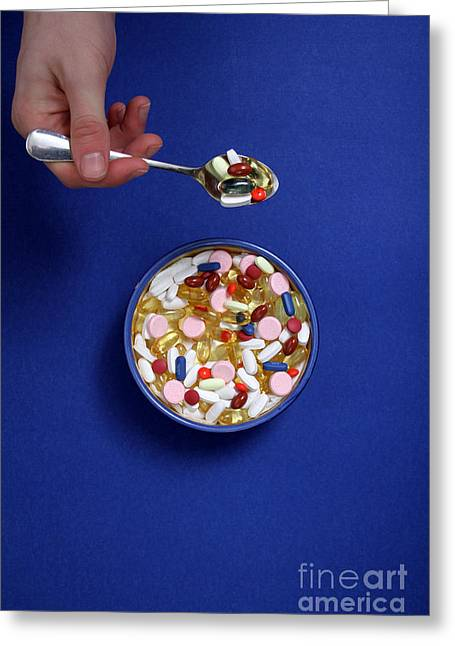Medication Greeting Cards - Bowl Of Pills Greeting Card by Photo Researchers
