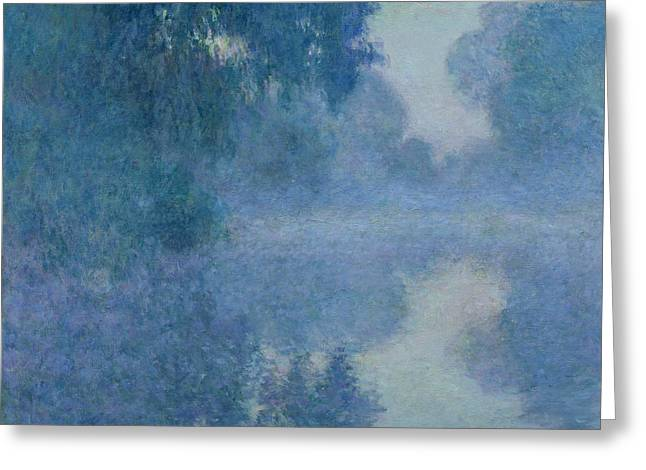Masterpiece Paintings Greeting Cards - Branch of the Seine near Giverny Greeting Card by Claude Monet
