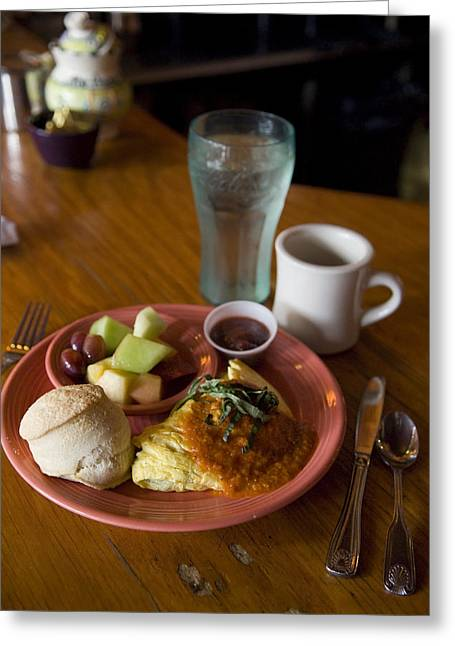 Southern Comfort Greeting Cards - Breakfast At The Original Flying Greeting Card by Krista Rossow