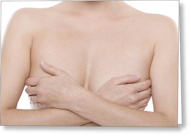 Self Shot Photographs Greeting Cards - Breast Self-examination Greeting Card by