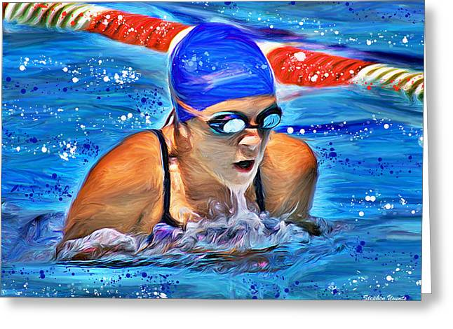 Breaststroke Greeting Card by Stephen Younts