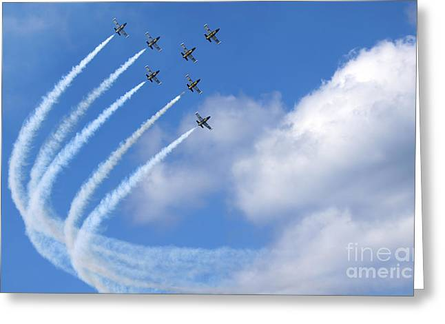 Aerobatic Greeting Cards - Breitling air display team L-39 Albatross Greeting Card by Nir Ben-Yosef