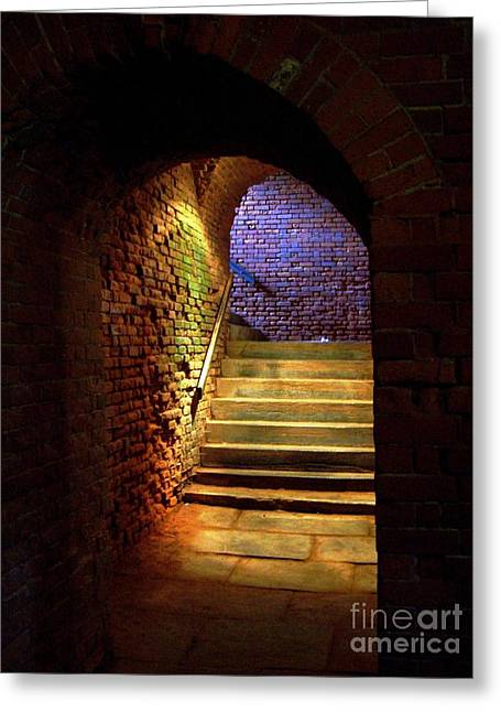 Basement Greeting Cards - Brick Tunnel Greeting Card by Sarah Holenstein