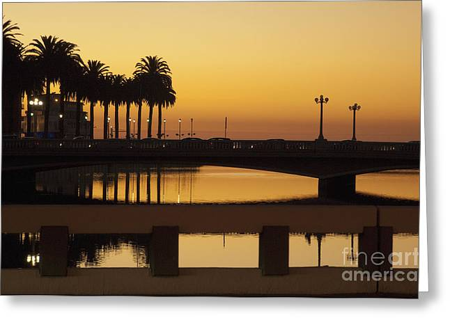 Water Reflecting At Sunset Greeting Cards - Bridge Over Waterway at Sunset Greeting Card by Thom Gourley/Flatbread Images, LLC
